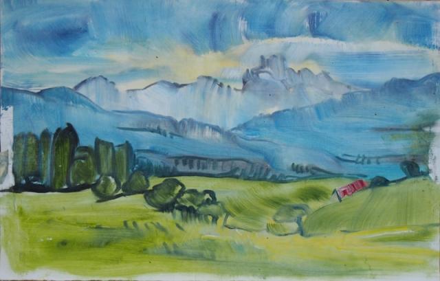 Landschaftsmalerei, en plein air, Freilichtmalerei, Berglandschaft, Klammspitz, Öl auf Leinwand, Tanja Leodolter, Künstlerin