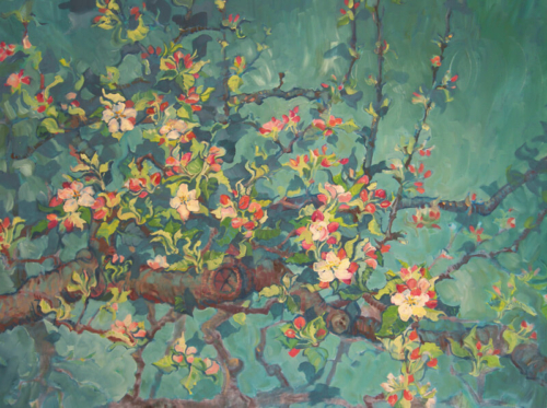 Landschaftsmalerei, en plein air, Freilichtmalerei, Apfelblüten, Öl auf Leinwand, Tanja Leodolter, Künstlerin