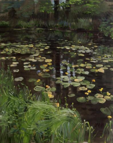 Landschaftsmalerei, en plein air, Freilichtmalerei, Teichrose, Seerosen, Öl auf Leinwand, Tanja Leodolter, Künstlerin