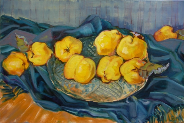 Stilleben, en plein air, Freilichtmalerei, Quitten, Obst, Öl auf Leinwand, Tanja Leodolter, Künstlerin