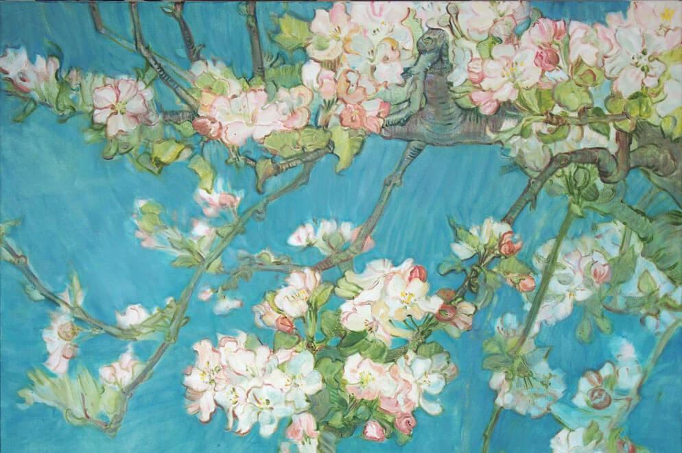 Landschaftsmalerei, en plein air, Freilichtmalerei, Apfelblüten, Öl auf Leinwand, Tanja Leodolter, Künstlerin, Malerei, Landschaftsmalerei, Ölmalerei, en plein air, Apfelblüten gemalt, Gemälde, knorriger Ast, Frühling