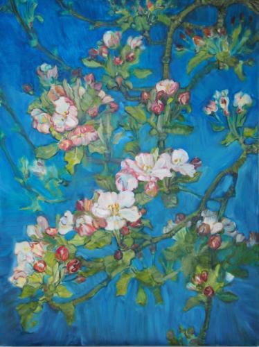 Landschaftsmalerei, en plein air, Freilichtmalerei, Apfelblüten, Öl auf Leinwand, Tanja Leodolter, Künstler