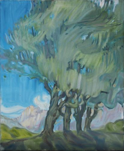 Bäume II   100 x 80 cm   Öl auf Leinwand
