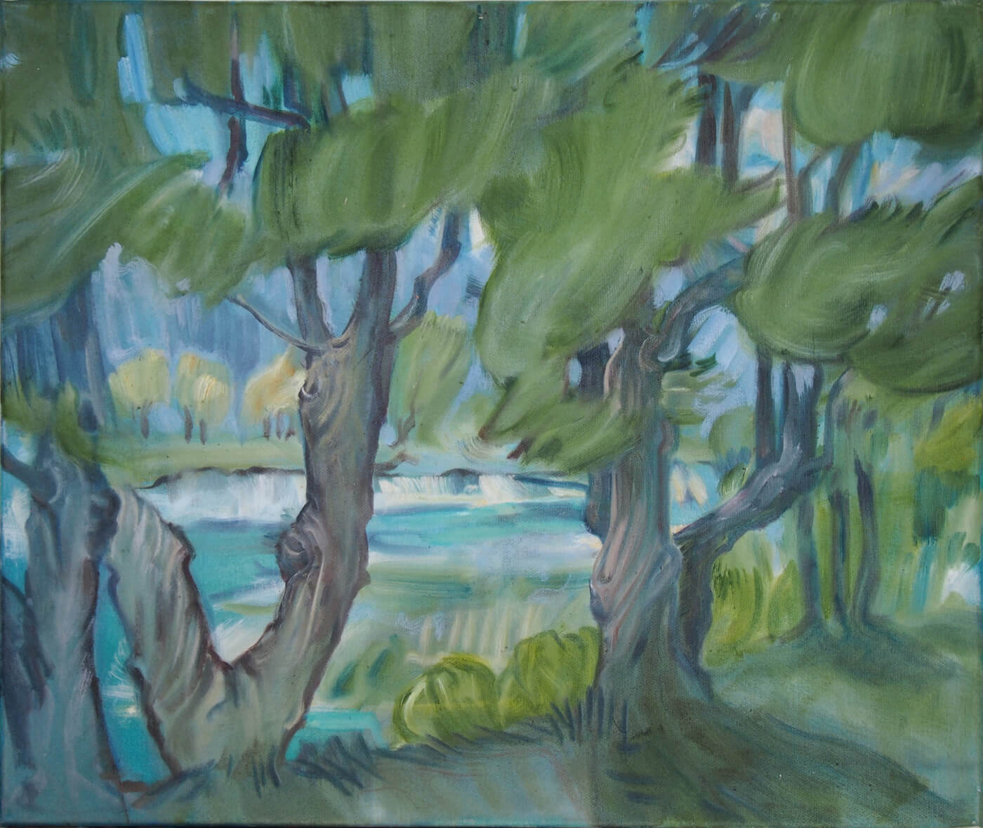 Landschaftsmalerei, en plein air, Freilichtmalerei, Bäume, Öl auf Leinwand, Tanja Leodolter, Künstlerin