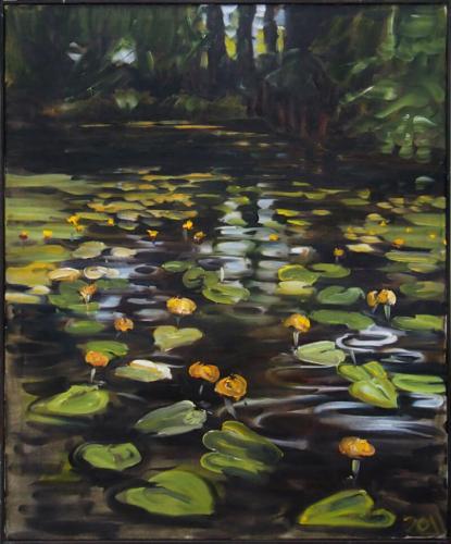 Landschaftsmalerei, en plein air, Freilichtmalerei, Teichrosen, Seerosen, Öl auf Leinwand, Tanja Leodolter, Künstlerin
