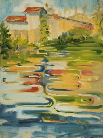 Landschaftsmalerei, en plein air, Freilichtmalerei, Teich, Wasser, Öl auf Leinwand, Tanja Leodolter, Künstlerin
