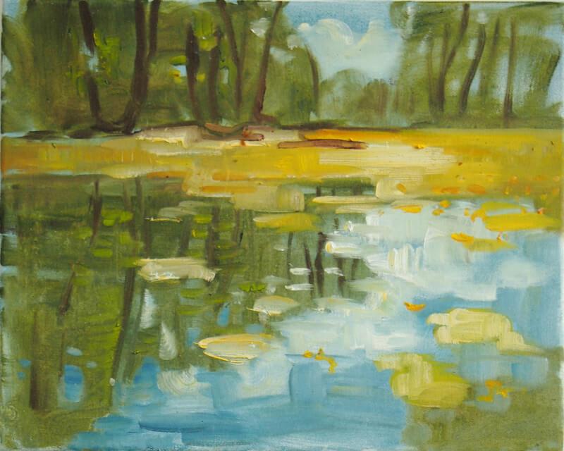 Landschaftsmalerei, en plein air, Freilichtmalerei, Wasser, Teich, Wasserlandschaft, Öl auf Leinwand, Tanja Leodolter, Künstlerin