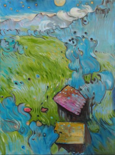 Landschaftsmalerei, en plein air, Freilichtmalerei, Berge, Nacht, Traumlandschaft, Öl auf Leinwand, Tanja Leodolter, Künstlerin