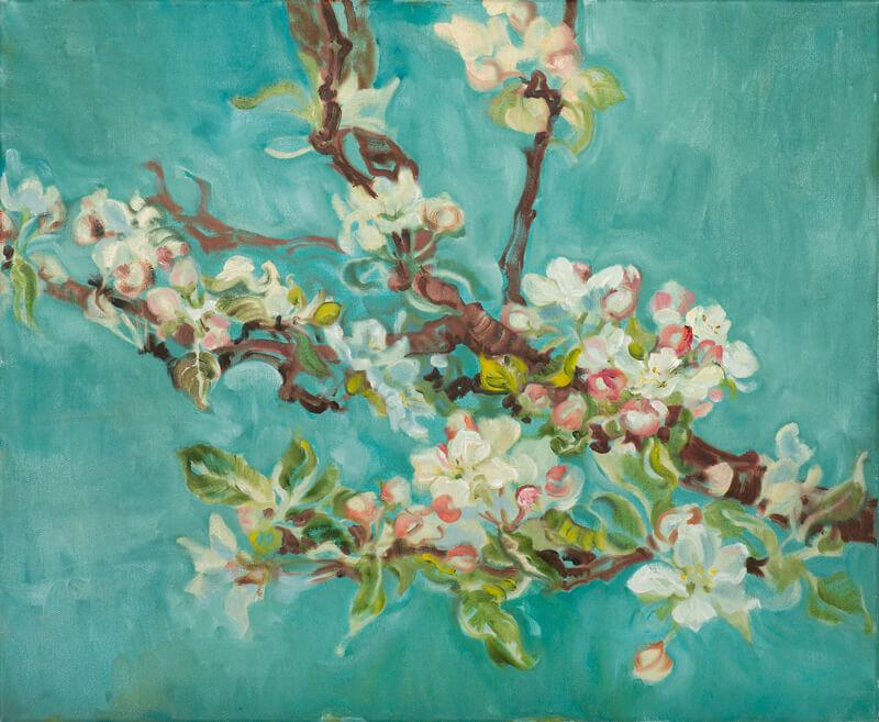 Landschaftsmalerei, en plein air, Freilichtmalerei, Apfelblüten, Öl auf Leinwand