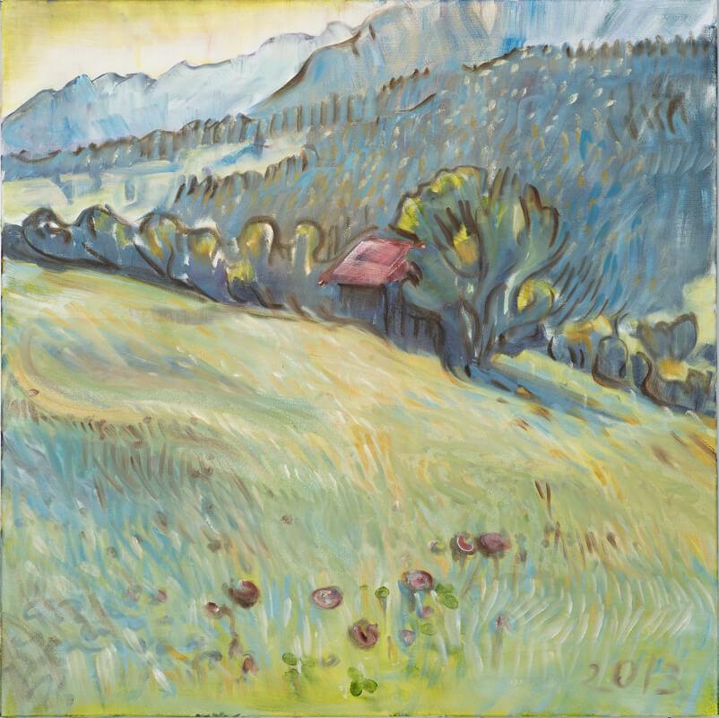 Landschaftsmalerei, en plein air, Freilichtmalerei, Bad Hindelang, Öl auf Leinwand, Tanja Leodolter, Künstlerin