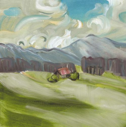 Landschaftsmalerei, en plein air, Freilichtmalerei, Wildsteig, Öl auf Leinwand, Tanja Leodolter, Künstlerin