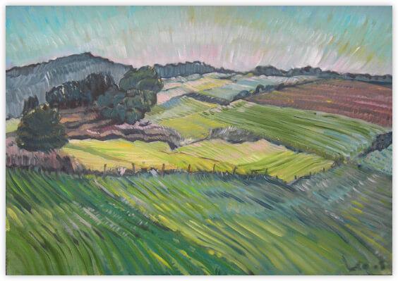 Landschaftsmalerei, en plein air, Freilichtmalerei, Reinhartshausen, Öl auf Leinwand, Tanja Leodolter, Künstlerin