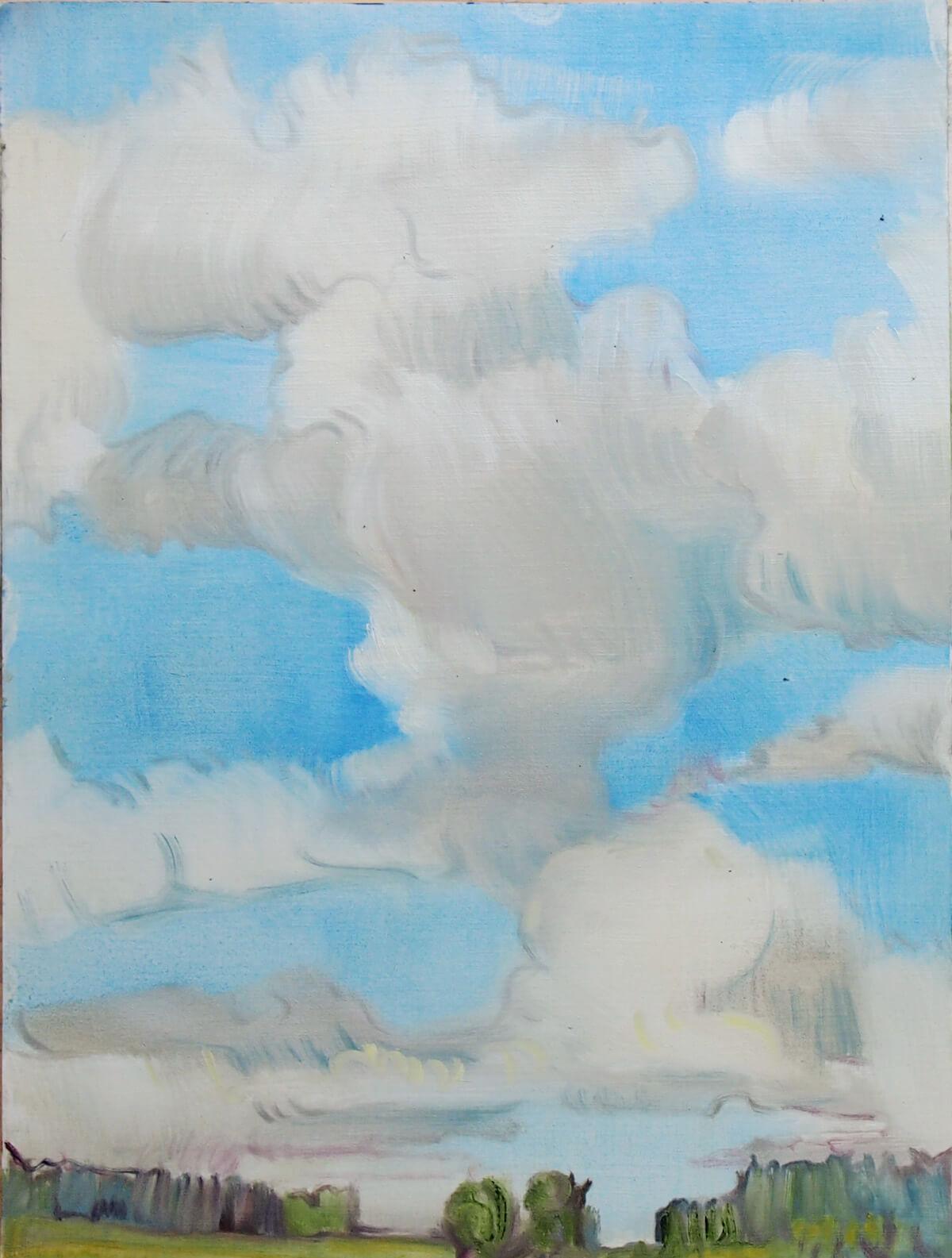 Landschaftsmalerei, en plein air, Freilichtmalerei, Wolken, Öl auf Leinwand, Tanja Leodolter, Künstlerin