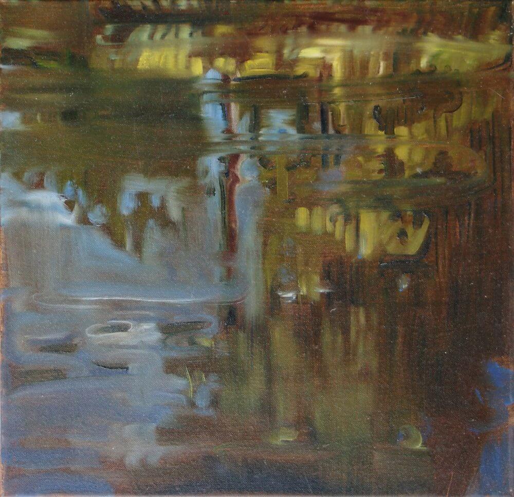 Landschaftsmalerei, en plein air, Freilichtmalerei, Singold, Wasser, Öl auf Leinwand, Tanja Leodolter, Künstlerin