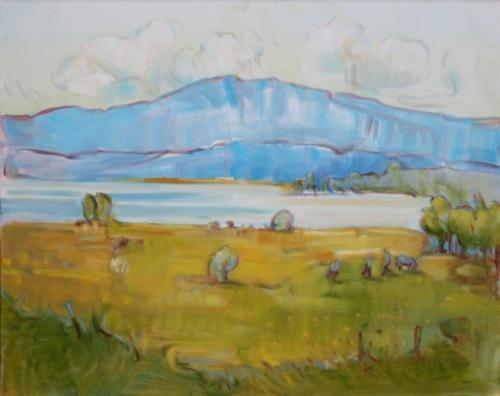 Landschaftsmalerei, en plein air, Freilichtmalerei, Murnauer Moos, Öl auf Leinwand, Tanja Leodolter, Künstlerin