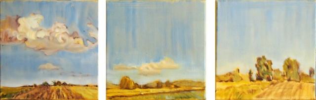 Landschaftsmalerei, en plein air, Freilichtmalerei, Felder, Wolken, Öl auf Leinwand, Tanja Leodolter, Künstlerin