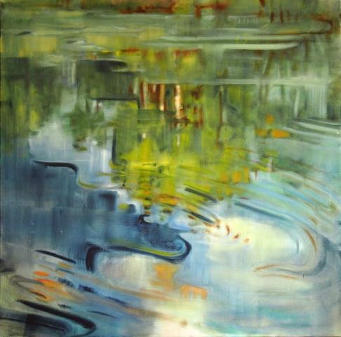 Landschaftsmalerei, en plein air, Freilichtmalerei, Auensee, Wasser, Öl auf Leinwand, Tanja Leodolter, Künstlerin