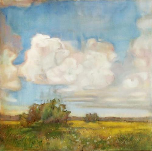 Landschaftsmalerei, en plein air, Freilichtmalerei, Lechauen, wiesen, Öl auf Leinwand, Tanja Leodolter, Künstlerin