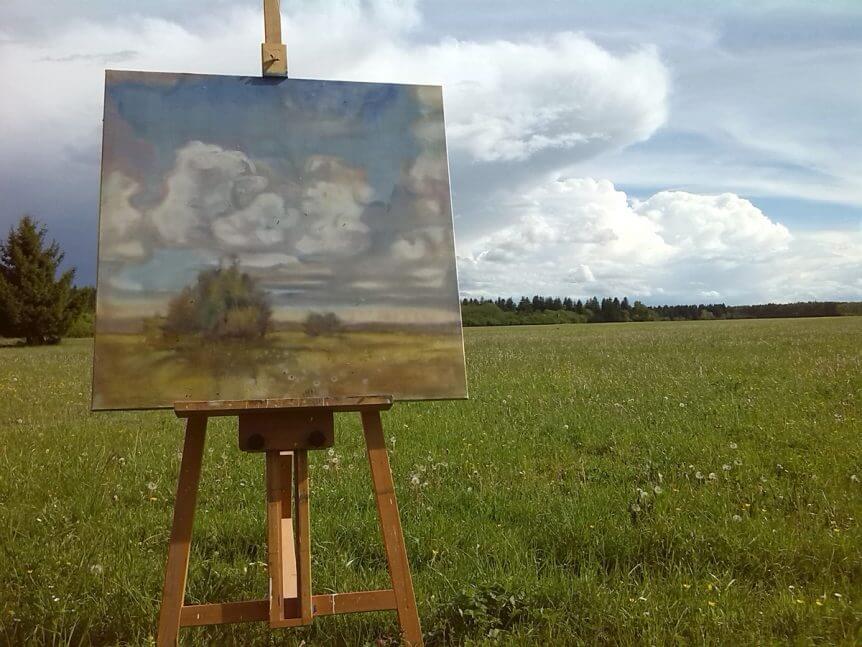 Landschaftsmalerei Kurs Plainair-Malerei Tanja Leodolter, Unteres Schlösschen Bobingen, Kunstverein Bobingen