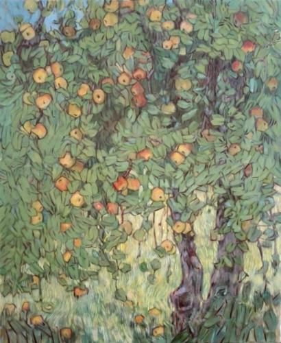 Malereo, Ölmalerei, Landschaftsmalerei, Apfelbaum