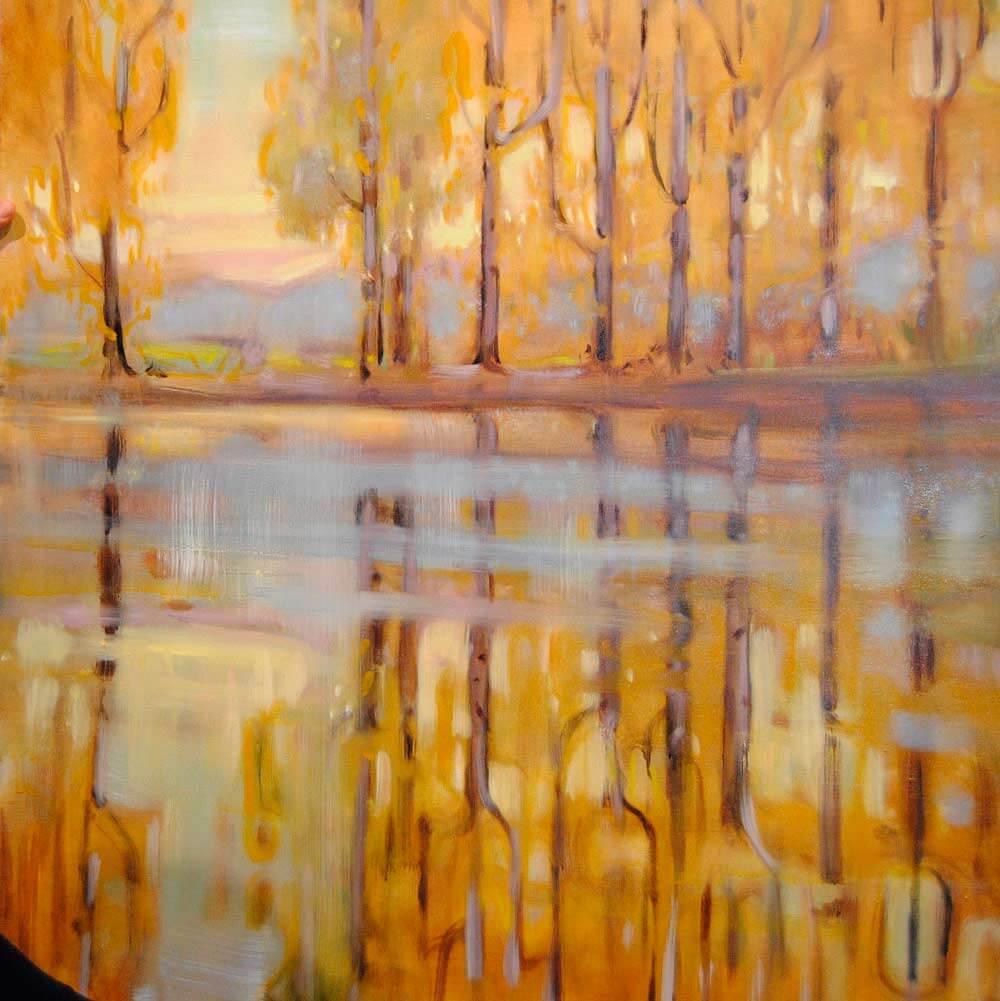 Malereo, Ölmalerei, Landschaftsmalerei Berge, Herbst, Wasserspiegelung, Bäume