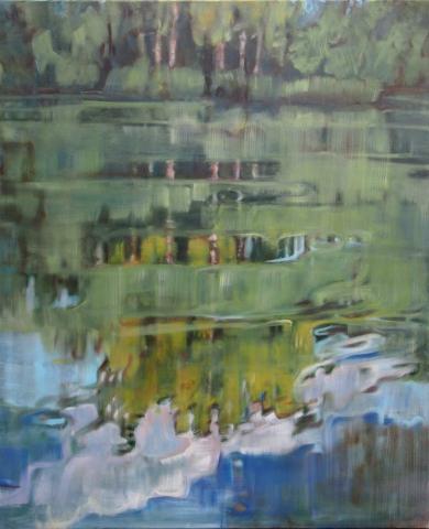 Malereo, Ölmalerei, Landschaftsmalerei Berge, Wasser, See, Wasserspiegelung
